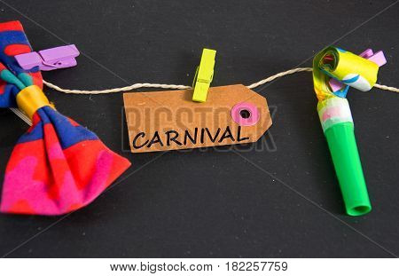 carnival -  written on a paper tag