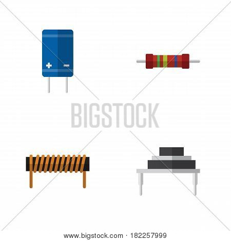 Flat Appliance Set Of Bobbin, Resistance, Transistor And Other Vector Objects. Also Includes Bobbin, Resistor, Copper Elements.