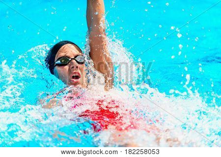 Backstroke Swimming, Blue Background, Outdoors Image, Color Image