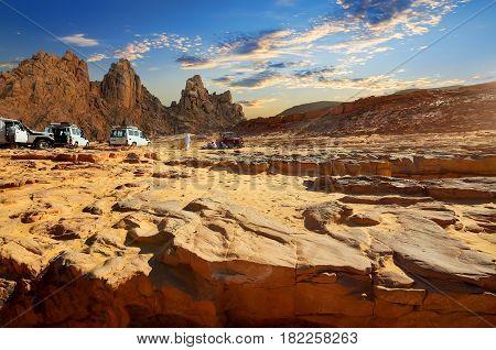 Trip on cars to Egyptian desert in summer