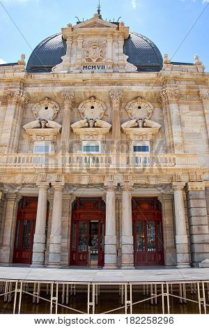 Facade of historic building Palace Hall of Cartagena, Spain