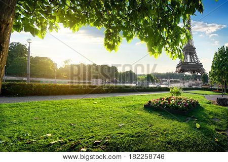 View on Eiffel Tower from the Trocadero Gardens in Paris, France