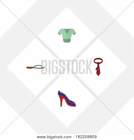 Flat Clothes Set Of Heeled Shoe, Casual, Beach Sandal Vector Objects. Also Includes Heeled, Tie, Sandal Elements.