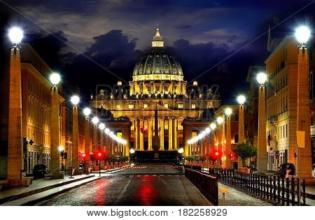 Road to Vatican and cloudy sky at night, Italy
