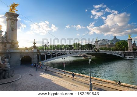 View on pont Alexadre III and Grand Palais in Paris, France