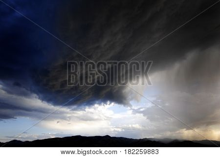Stom clouds in sky many storms
