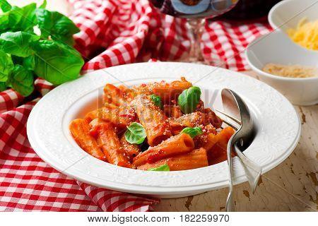 pasta pappa al pomodoro.style rustic. selective focus