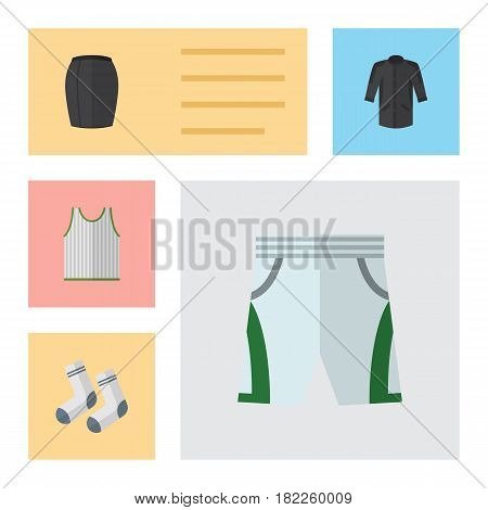 Flat Clothes Set Of Stylish Apparel, Singlet, Foot Textile And Other Vector Objects. Also Includes Woman, Shorts, Skirt Elements.