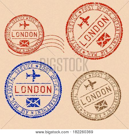 Collection of LONDON postal stamps partially faded on beige paper background. Vector illustration