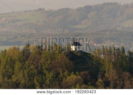 St. Anne's Chapel - Kaple svate Anny on the hill Vysker in the Bohemia Paradise. Aerial image