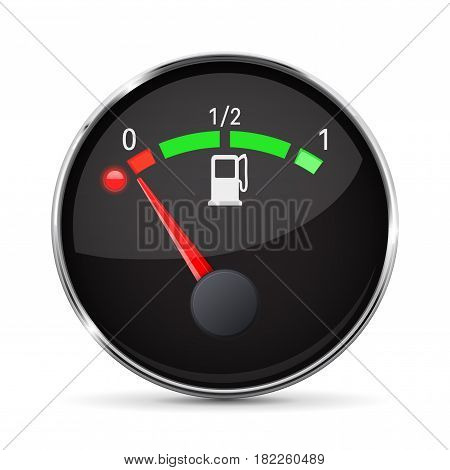 Black fuel gauge with chrome frame. Empty tank. Vector 3d illustration isolated on white background