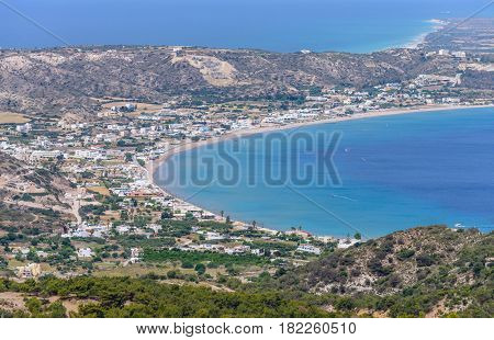 Aerial view of Kefalos village, Kos island, Dodecanese, Greece