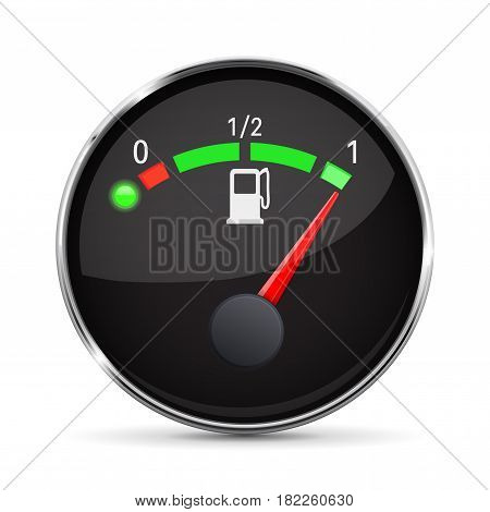 Black fuel gauge with chrome frame. Full tank. Vector 3d illustration isolated on white background