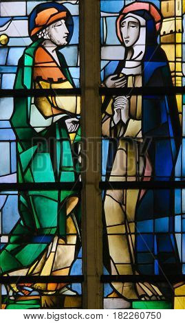 Stained Glass - Mother Mary And Joseph