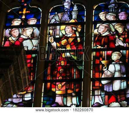 Stained Glass - Priests Celebrating Mass