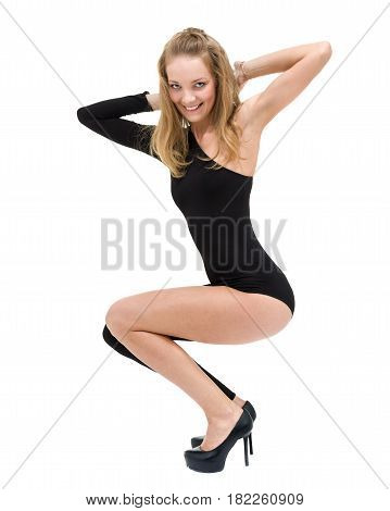 sport fitness woman doing exercises, isolated on white background in full length.