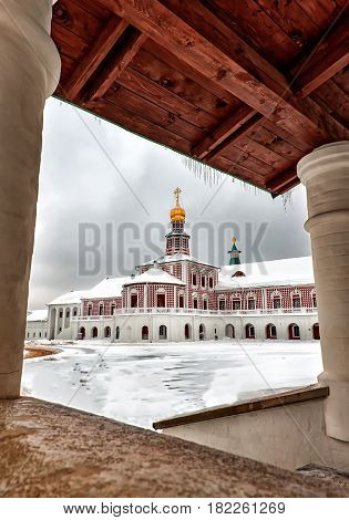 Art the new Jerusalem monastery Istra Russia road to the bell tower in winter