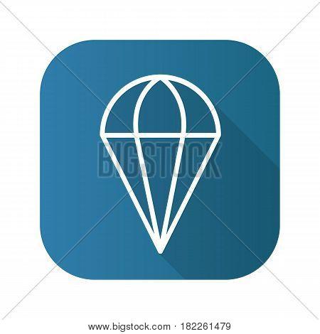 Parachute flat linear long shadow icon. Vector line symbol