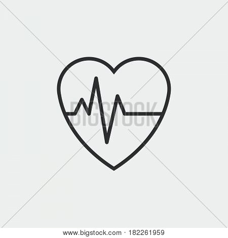 heart beat pulse icon isolated on grey background .