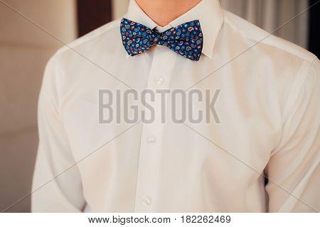 Tie Butterfly close-up. Wedding groom suit. Wedding in Montenegro