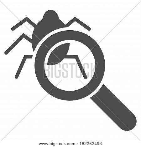Debugger Explorer vector pictogram. Illustration style is a flat iconic grey symbol on a white background.