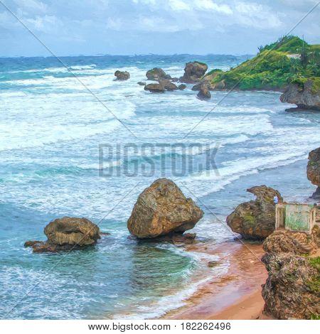 Illustrative image of large boulders along shore line of Barbados.
