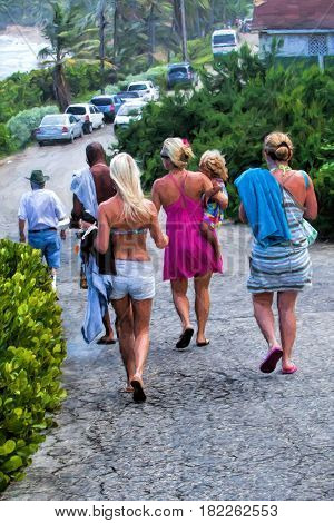 Illustrative image of tourists in Barbados walking down a hill toward the beach.