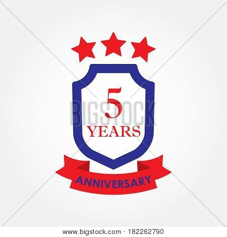 5 years anniversary icon or emblem. 5th anniversary label. Celebration invitation and congratulation design element. Colorful vector illustration.
