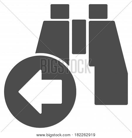Find Previous Binoculars vector icon. Illustration style is a flat iconic gray symbol on a white background.