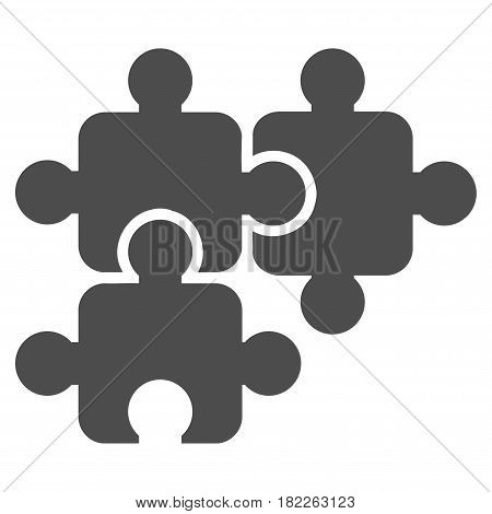 Puzzle Elements vector pictograph. Illustration style is a flat iconic grey symbol on a white background.