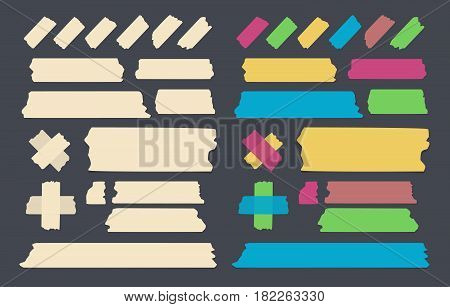 Set of different size, colorful and brown sticky paper, adhesive, masking tape stuck on black background.