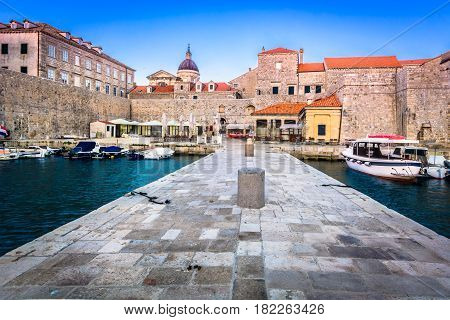 Scenic view at old marble town Dubrovnik, touristic destination in Europe, Croatia.