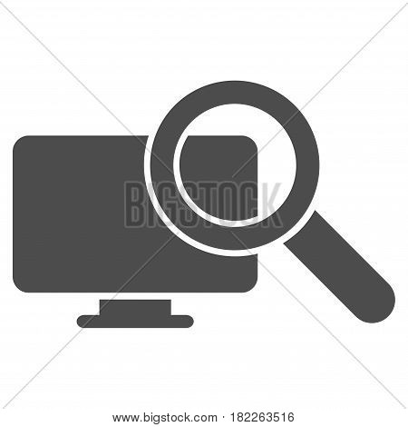 Search Computer vector icon. Illustration style is a flat iconic grey symbol on a white background.