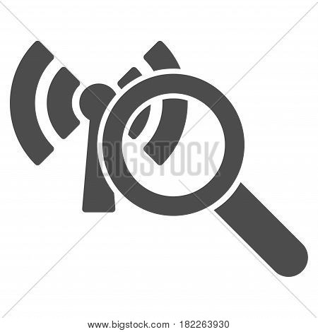 Search Wi-Fi Network vector icon. Illustration style is a flat iconic grey symbol on a white background.