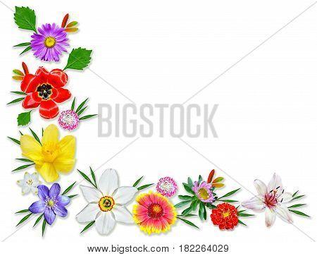 Frame of bright spring flowers. Floral background.