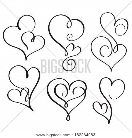 set of flourish calligraphy vintage hearts. Illustration vector hand drawn EPS 10.