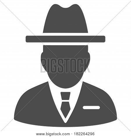 Spy Person vector pictogram. Illustration style is a flat iconic gray symbol on a white background.
