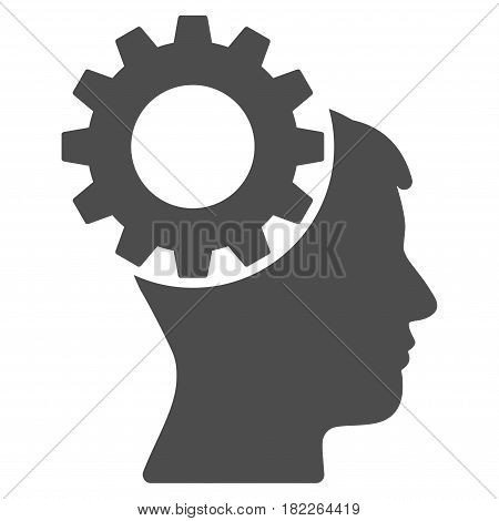 Thinking Gear vector pictograph. Illustration style is a flat iconic grey symbol on a white background.