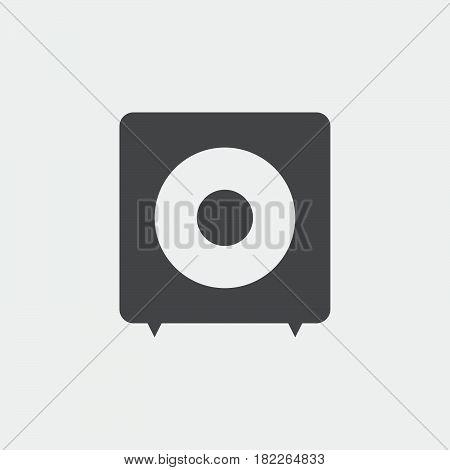 subwoofer icon isolated on grey background .