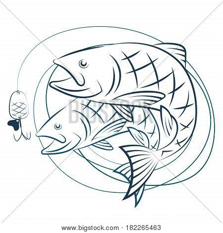 Fish and fishing line with bait. Silhouettes for sport fishing.