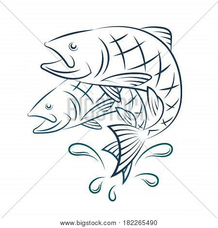 Fish and water splashes silhouette vector illustration