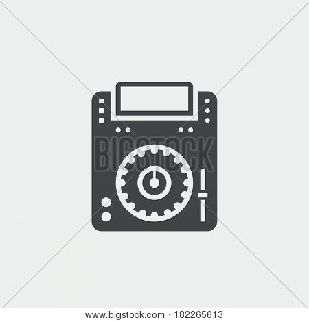 dj cd player icon isolated on grey background