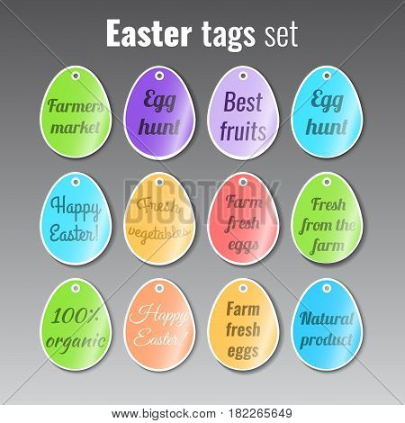 Easter eggs holiday stickers set. Stock vector.