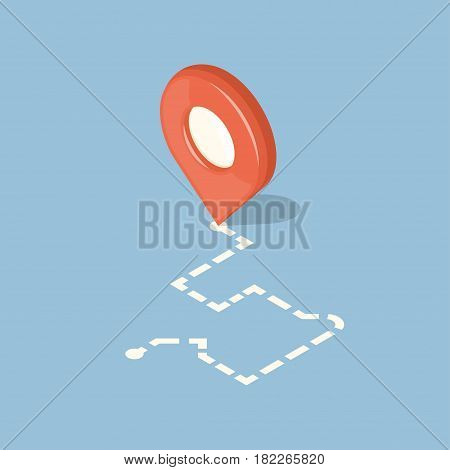 Red pointer and dotted line route. GPS navigation concept icon. Isometric vector illustration
