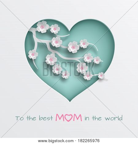 Green cuted heart decorated branch of cherry flowers on white background for mother's day or women's day greeting card, paper cut out art style. Vector illustration, layers are isolated