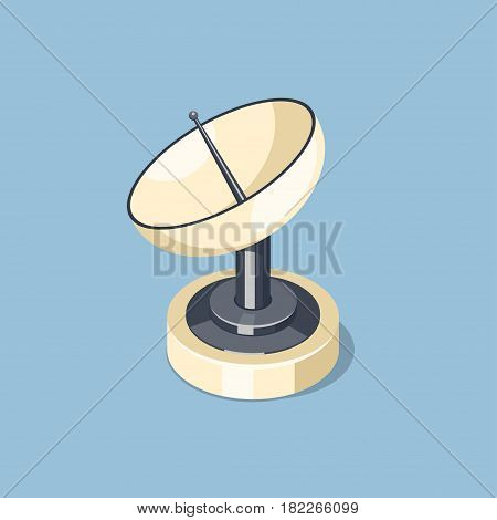 Communications satellite dish icon isolated on blue. Isometric vector illustration