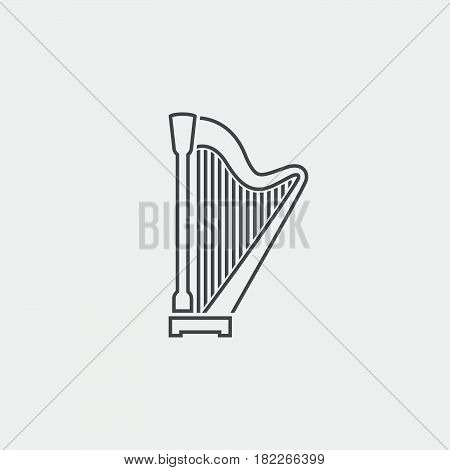 harp icon isolated on grey background .
