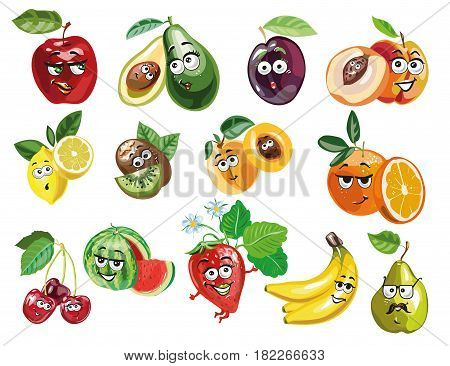 Cute Fruit characters vector stock art illustration