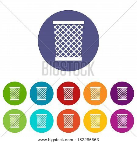 Trashcan containing radioactive waste icons set in circle isolated flat vector illustration