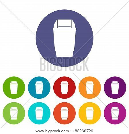 Wastepaper basket icons set in circle isolated flat vector illustration